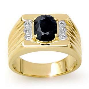 3.76 ctw Blue Sapphire & Diamond Men's Ring 10k Yellow