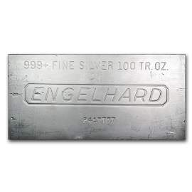 One piece 100 oz 0.999 Fine Silver Bar Engelhard -