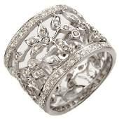 1.30 ctw Certified VS/SI Diamond Ring 18k White Gold -