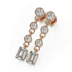 2.5 ctw Emerald Cut Diamond Earrings 18K Rose Gold -