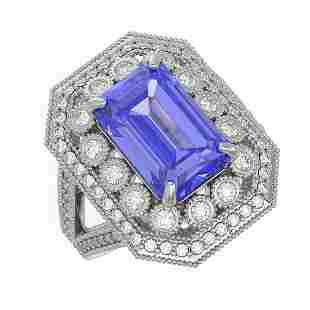5.86 ctw Certified Tanzanite & Diamond Victorian Ring