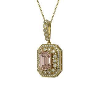 6.05 ctw Morganite & Diamond Victorian Necklace 14K
