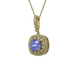 7.19 ctw Tanzanite & Diamond Victorian Necklace 14K