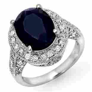 7.0 ctw Blue Sapphire & Diamond Ring 14k White Gold -