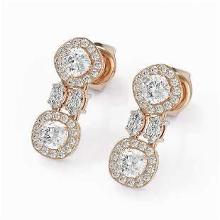 2 ctw Cushion & Marquise Cut Diamond Earrings 18K Rose