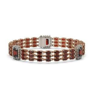 23.08 ctw Garnet & Diamond Bracelet 14K Rose Gold -