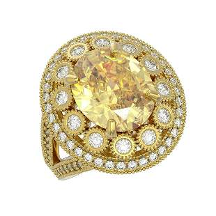 7.87 ctw Canary Citrine & Diamond Victorian Ring 14K
