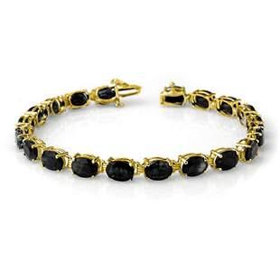 35.0 ctw Blue Sapphire Bracelet 10k Yellow Gold -