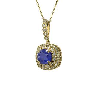 6.58 ctw Sapphire & Diamond Victorian Necklace 14K