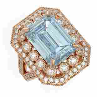 12.49 ctw Certified Sky Topaz & Diamond Victorian Ring