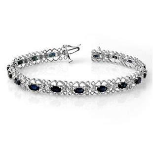 7.02 ctw Blue Sapphire & Diamond Bracelet 14k White