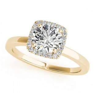 0.65 ctw Certified VS/SI Diamond Halo Ring 18k Yellow