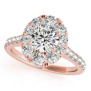 1.7 ctw Certified VS/SI Diamond Halo Ring 18k Rose Gold
