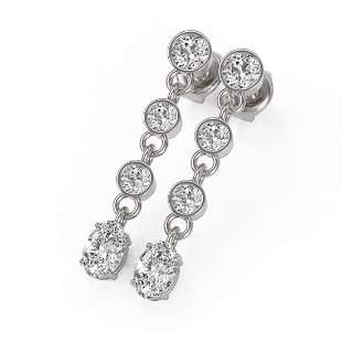 2.5 ctw Oval Cut Diamond Earrings 18K White Gold -