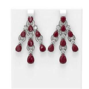 27.36 ctw Ruby & Diamond Earrings 18K White Gold -
