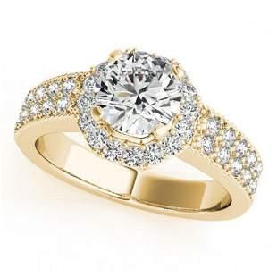 1.11 ctw Certified VS/SI Diamond Halo Ring 18k Yellow