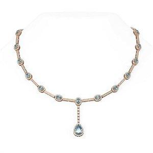 12.84 ctw Aquamarine & Diamond Necklace 18K Rose Gold -