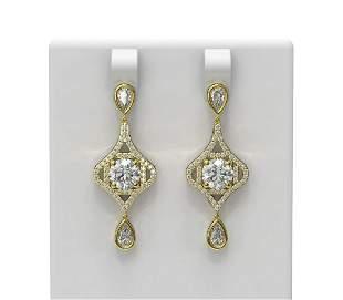 3.83 ctw Diamond Earrings 18K Yellow Gold - REF-830G5W