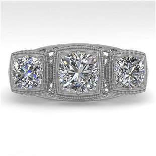 2 ctw Past Present Future VS/SI Cushion Diamond Ring