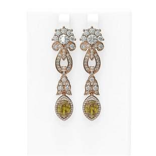 7.88 ctw Canary Citrine & Diamond Earrings 18K Rose