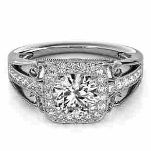 1.3 ctw Certified VS/SI Diamond Halo Ring 18k White