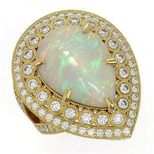 11.19 ctw Certified Opal & Diamond Victorian Ring 14K
