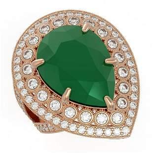 16.29 ctw Certified Emerald & Diamond Victorian Ring