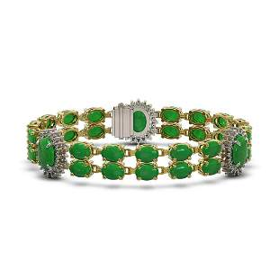 33.27 ctw Jade & Diamond Bracelet 14K Yellow Gold -
