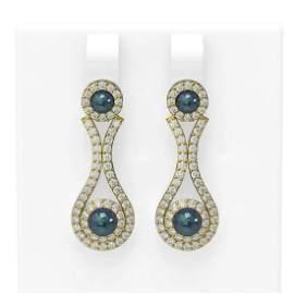 2.03 ctw Diamond & Pearl Earrings 18K Yellow Gold -