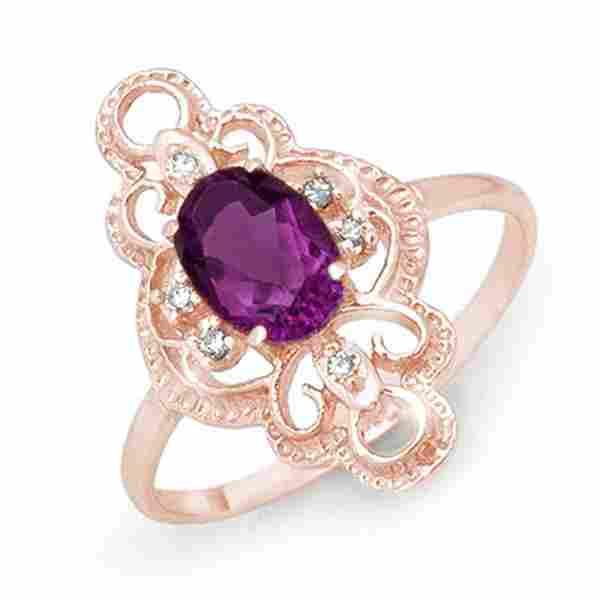 0.80 ctw Amethyst & Diamond Ring 14k Rose Gold -