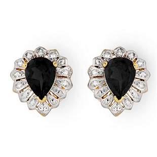 2.20 ctw Blue Sapphire Earrings 10k Yellow Gold -