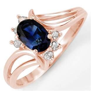 0.70 ctw Blue Sapphire & Diamond Ring 14k Rose Gold -