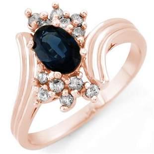 1.0 ctw Blue Sapphire & Diamond Ring 14k Rose Gold -