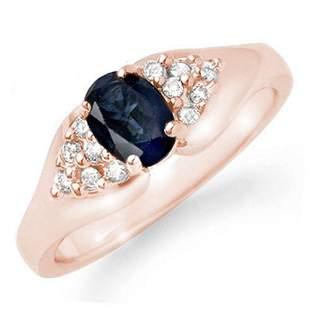 0.90 ctw Blue Sapphire & Diamond Ring 14k Rose Gold -