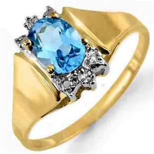 1.03 ctw Blue Topaz & Diamond Ring 10k Yellow Gold -