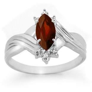 0.51 ctw Garnet & Diamond Ring 10k White Gold -