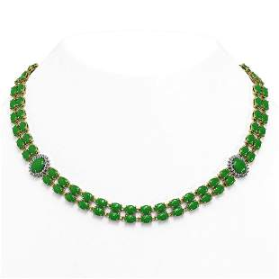 65.77 ctw Jade & Diamond Necklace 14K Yellow Gold -
