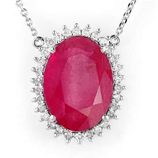 19.25 ctw Ruby & Diamond Necklace 14k White Gold -