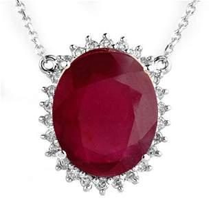 9.25 ctw Ruby & Diamond Necklace 18k White Gold -
