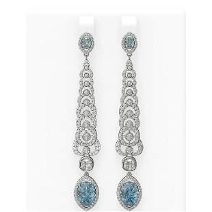 9.1 ctw Blue Topaz & Diamond Earrings 18K White Gold -