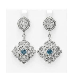 6.48 ctw Intense Blue Diamond Earrings 18K White Gold -