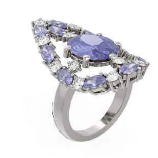 9.93 ctw Tanzanite & Diamond Ring 18K White Gold -