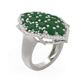 7.19 ctw Emerald & Diamond Ring 18K White Gold -
