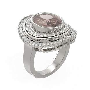 6.46 ctw Morganite & Diamond Ring 18K White Gold -