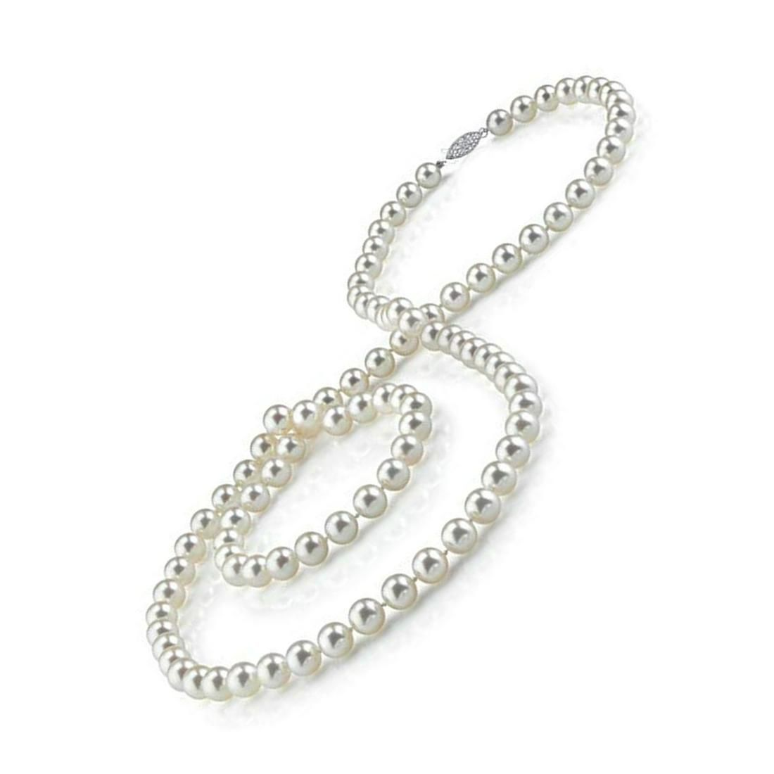 """11 mm Akoya Cultured Pearl 30"""" Necklace Lock 14k White"""
