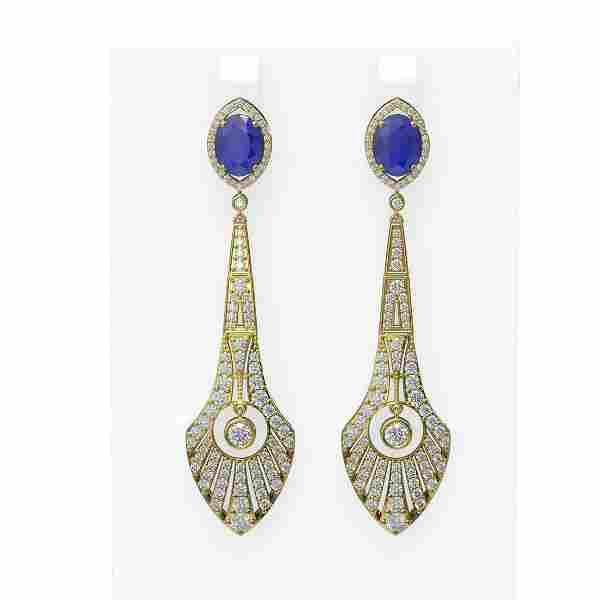 9.69 ctw Sapphire & Diamond Earrings 18K Yellow Gold -