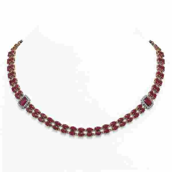 41.63 ctw Ruby & Diamond Necklace 14K Rose Gold -