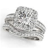 1.3 ctw Certified VS/SI Diamond 2pc Wedding Set Halo