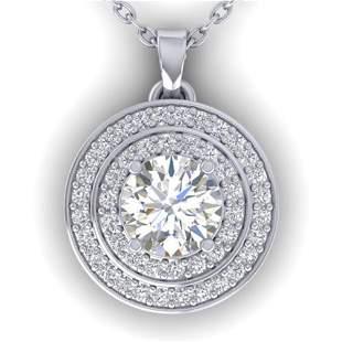 0.9 ctw Certified VS/SI Diamond Art Deco Halo Necklace