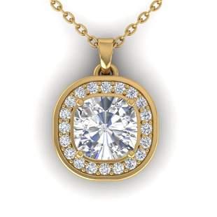 1.25 ctw Cushion VS/SI Diamond Art Deco Necklace 14k